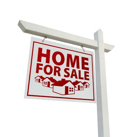 home for sale: Bianco e rosso a casa per vendita immobiliare vero segno isolato su uno sfondo bianco.