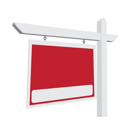 lease: Blank Red Real Estate Sign Ready For Your Own Message. Stock Photo