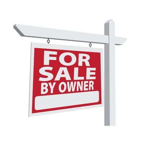 A la venta por el propietario de bienes raíces signo listos para su propio mensaje. Foto de archivo