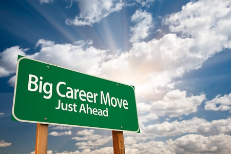 business opportunity: Big Career Move Green Road Sign with Dramatic Clouds, Sun Rays and Sky.