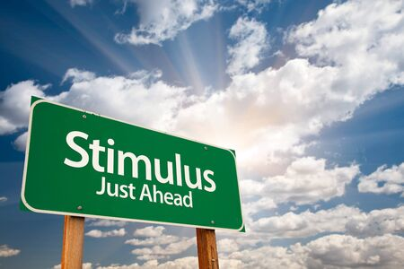 education help: Stimulus Green Road Sign with Dramatic Clouds, Sun Rays and Sky.