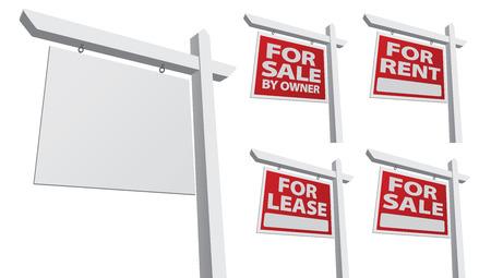 Conjunto de varios signos de bienes raíces - en blanco, para la venta por el propietario, venta, alquiler y arrendamiento.