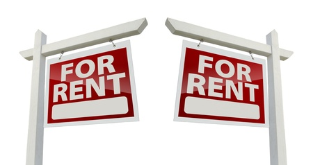 for rent: Left and Right Facing For Rent Real Estate Signs Stock Photo
