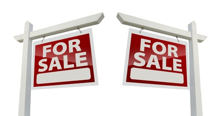 Pair of Right and Left Facing For Sale Real Estate Signs Stock Photo - 9093777