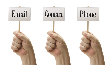 Three Signs In Male Fists Saying Email, Contact and Phone Isolated on a White Background. photo