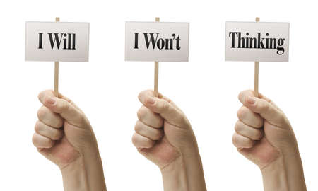 Three Signs In Male Fists Saying I Will, I Wont, Thinking Isolated on a White Background. photo