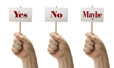 Three Signs In Male Fists Saying Yes, No and Maybe Isolated on a White Background. photo