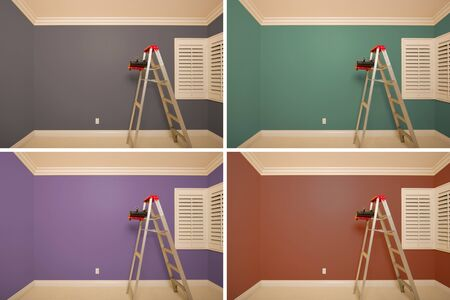 Set of Empty Rooms Painted in Variety of Colors with Ladder, Rollers and Tray. Imagens