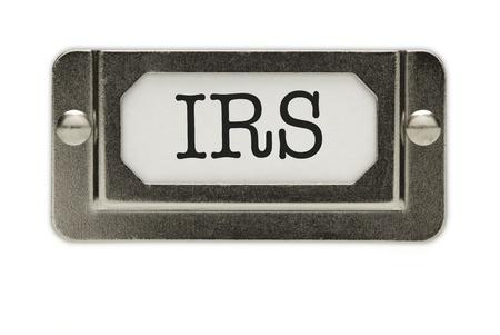 excise: IRS File cassetto etichetta isolato su uno sfondo bianco. Archivio Fotografico