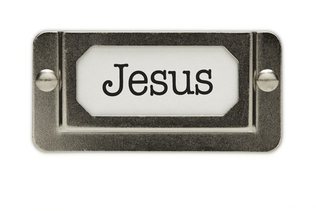 Jesus File Drawer Label Isolated on a White Background. photo