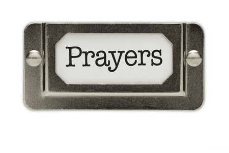 Prayers File Drawer Label Isolated on a White Background. photo