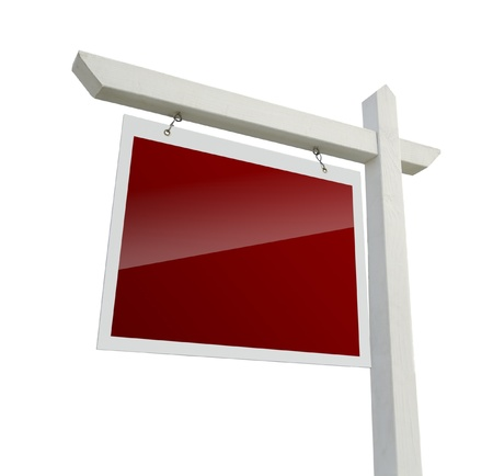 estate: Blank Red Real Estate Sign Isolated on a White Background Stock Photo