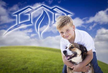 environmental awareness: Adorable Boy and His Dog Playing Outside with Ghosted Green House Graphic in The Blue Sky.