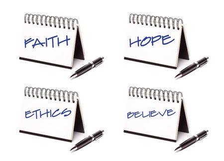 Spiral Note Pad and Pen Series Isolated on White - Faith, Hope, Ethics and Believe - XXXL.