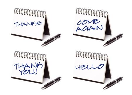 courtoisie: Spirale calepin et Pen s�rie isol� sur fond blanc - Merci, merci, viennent � nouveau et Bonjour - XXXL. Banque d'images