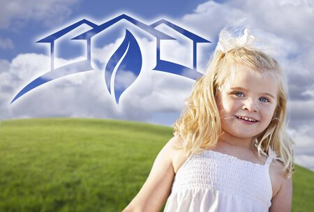 environmental awareness: Adorable Blue Eyed Girl Playing Outside with Ghosted Green House Graphic in The Blue Sky.