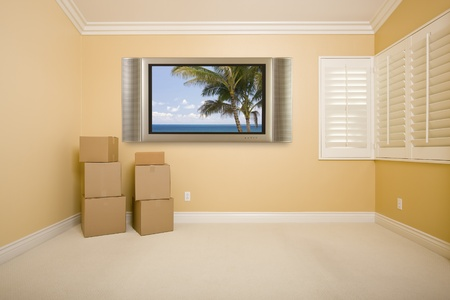 speakers: Flat Panel Television on Wall with Tropical Scene in Empty Room with Boxes. Stock Photo