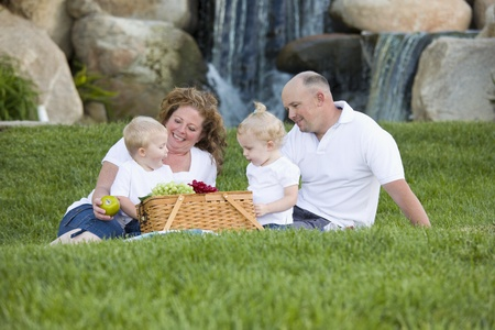 Happy Adorable Young Family with Twins Enjoy a Picnic in the Park. photo