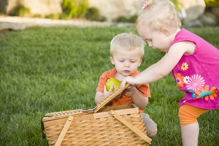 Cute Brother and Sister Toddlers Playing with Apple and Picnic Basket in the Park. photo