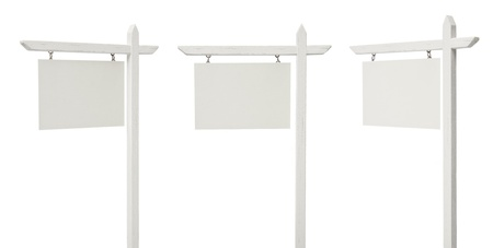 xxxl: Set of 3 Different Angled Blank Real Estate Signs Isolated on a White Background - XXXL.