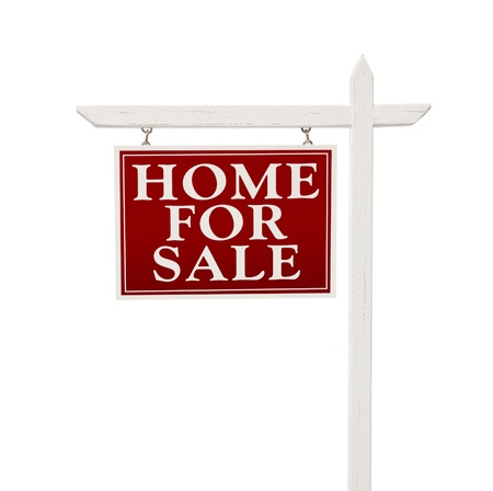 Home for sale: Home For Sale Real Estate Sign Isolated on a White Background.