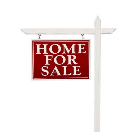 Inicio de venta inmobiliaria signo aislado en un fondo blanco.