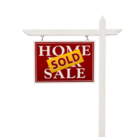 real estate sold: Red Sold For Sale Real Estate Sign Isolated on a White Background with Clipping Path.