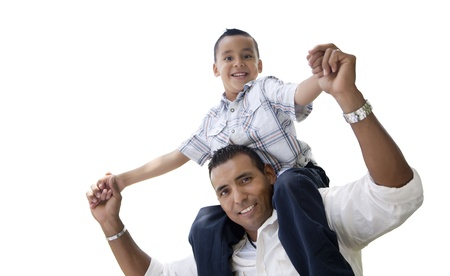 kinship: Hispanic Father and Son Having Fun Isolated on a White Background.
