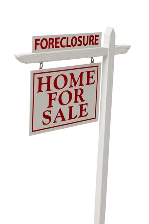 bank owned: Foreclosure For Sale Real Estate Sign Isolated on a White Background with Clipping Path.