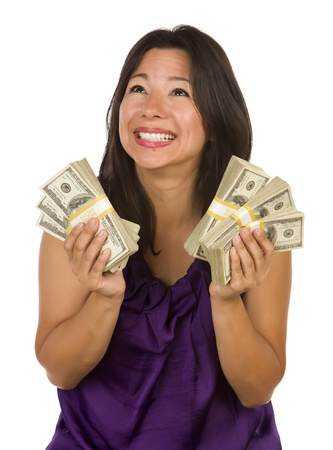 perks: Excited Attractive Multiethnic Woman Holding Hundreds of Dollars Isolated on a White Background.