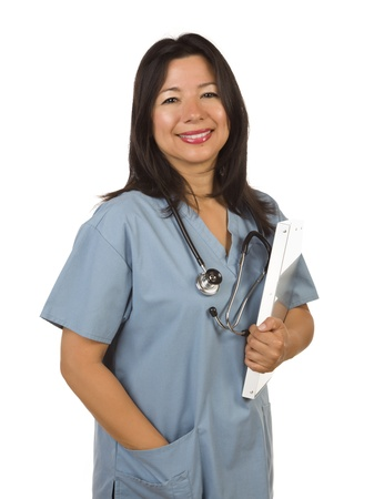 hispanic americans: Attractive Hispanic Doctor or Nurse Isolated on a White Background.