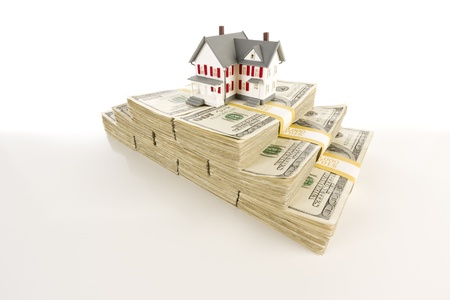 Stacks of One Hundred Dollar Bills with Small House on Slight Gradation. Stock Photo - 9923585