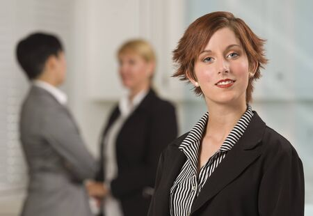 red haired: Pretty Red Haired Businesswoman with Colleagues Behind in an Office Setting.