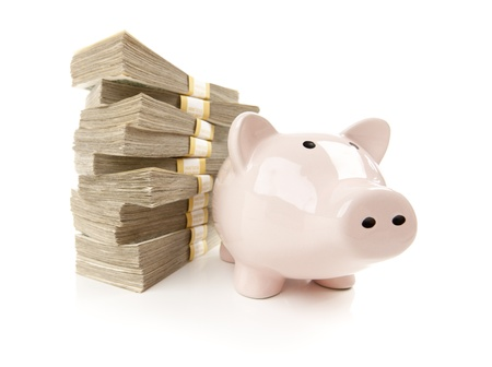 hundreds: Pink Piggy Bank with Stacks of Hundreds of Dollars Isolated on a White Background. Stock Photo