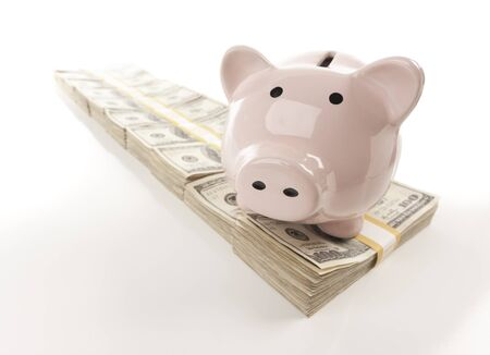 Pink Piggy Bank on Row of Hundreds of Dollars Stacks Isolated on a White Background. photo