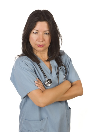 demanding: Serious Hispanic Doctor or Nurse Isolated on a White Background.