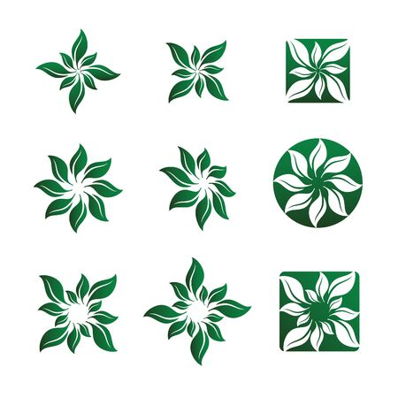 variety: Nine Various Leaf and Flower Illustrations.