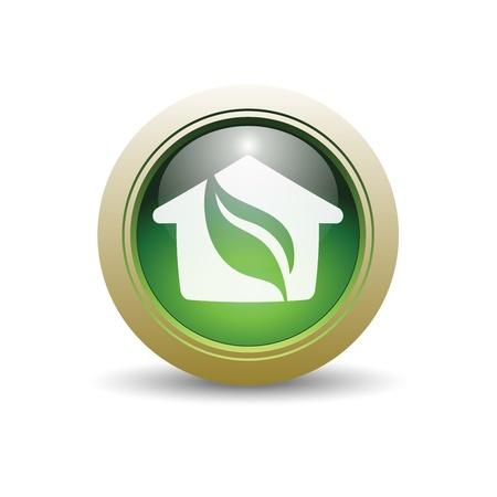 光沢のある緑の家の葉とホームとイラスト。