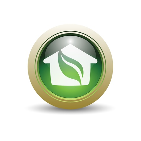 Glossy Green House Illustration with Leaf and Home. 일러스트