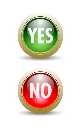 proceed: Pair of Glossy Yes and No - Red and Green - Buttons. Illustration