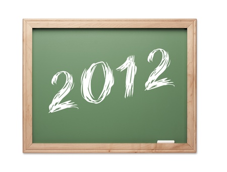 2012 Green Chalk Board on a White Background. Stock Photo - 10594900
