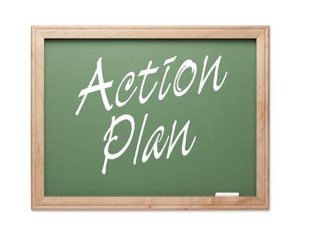 communication �crite: Plan vert d'action Board S�rie de craie sur un fond blanc.