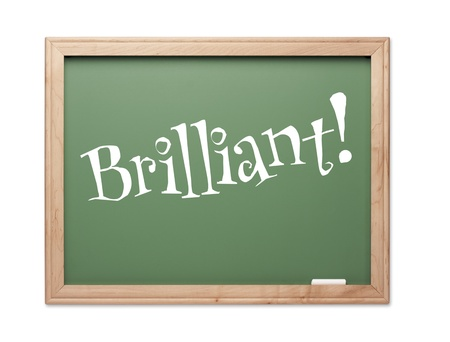 kudos: Brilliant! Green Chalk Board Kudos Series on a White Background.