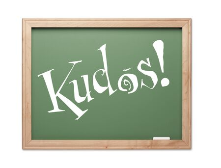Kudos! Green Chalk Board Series on a White Background. photo