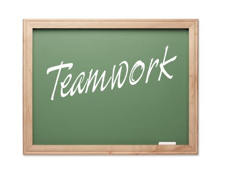 Teamwork Green Chalk Board Series on a White Background. Stock Photo - 10594897