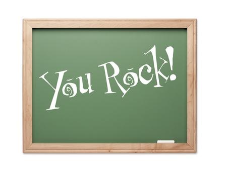 kudos: You Rock! Green Chalk Board Kudos Series on a White Background. Stock Photo