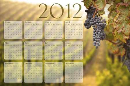 2012 Calendar with Lush Grape Vineyard Background. photo