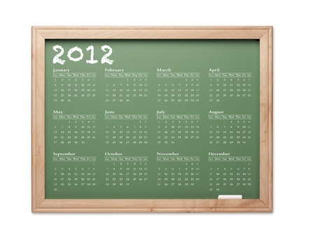 2012 Calendar Chalkboard with All Twelve Months on a White Background. photo