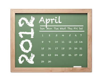 Month of April 2012 Calendar on Green Chalkboard Over White Background. photo