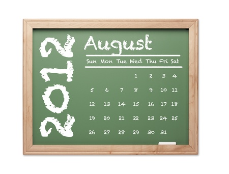 Month of August 2012 Calendar on Green Chalkboard Over White Background. photo